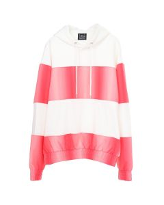 Feng Chen Wang CONTRAST STRIPED HOODIE / WHITE