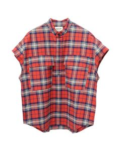 FEAR OF GOD SIXTH COLLECTION SHORT SLEEVE FLANNEL / 640 : RED PLAID