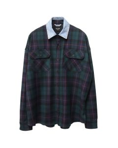 FEAR OF GOD FIFTH COLLECTION DENIM COLLARED FLANNEL / GREEN PLAID