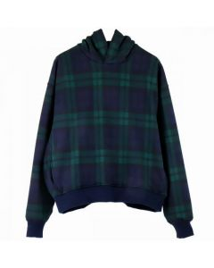 FEAR OF GOD FIFTH COLLECTION PLAID EVERYDAY HOODIE / GREEN PLAID