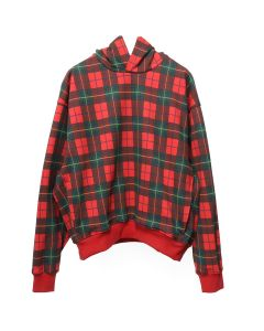 FEAR OF GOD FIFTH COLLECTION HEAVY TERRY EVERYDAY HOODIE / RED PLAID