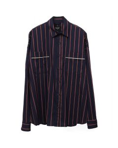 FEAR OF GOD FIFTH COLLECTION PIPED OVERSIZED SHIRT / NAVY-RED STRIPE