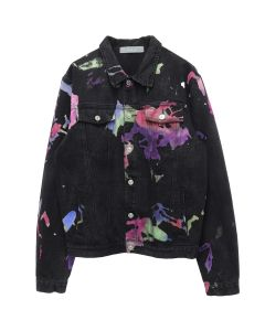 GEO MULTILAYERED DENIM JACKET / BLACK MULTI