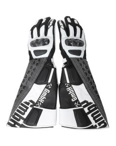 GmbH BIKER GLOVES w/EMBROIDERY / 22 : CREAM-GREY(WHITE-BLACK)