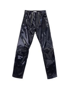 GmbH HIGH WAISTED VINYL TROUSERS w/ZIP / NAVY