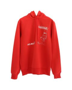 HELMUT LANG PUPPY HOODIE / RED-WHITE