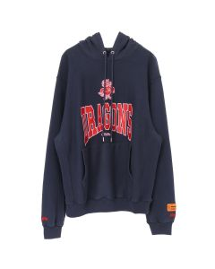HERON PRESTON DRAGONS HOODED SWEATSHIRT / DARK BLUE RED