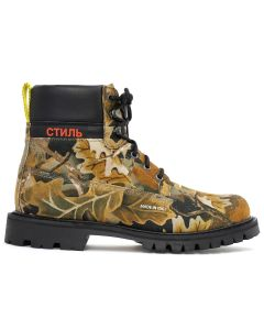 HERON PRESTON CAMO LEAF CLEATED ANKLE BOOTS / MULTICOLOR RED