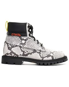 HERON PRESTON PYTHON CLEATED ANKLE BOOTS / MULTICOLOR RED