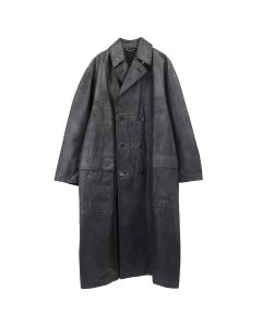 JOHN LAWRENCE SULLIVAN OILED COTTON OVERSIZED BAL COLLAR COAT / BLACK