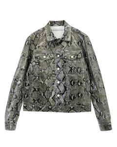 JOHN LAWRENCE SULLIVAN PYTHON COATED COTTON JEAN JACKET / BEIGE