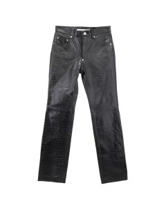 JOHN LAWRENCE SULLIVAN EMBROSSED LEATHER 5POCKET PANT / BLACK