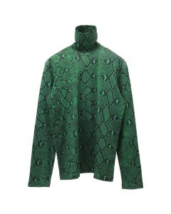 JOHN LAWRENCE SULLIVAN PYTHON PRINTED COTTON TURTLE NECK TOP / GREEN