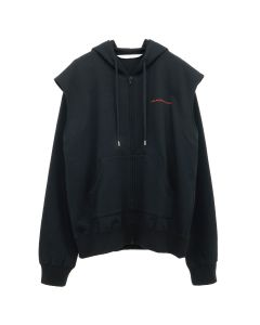 JOHN LAWRENCE SULLIVAN COTTON SWEAT TUCKED SHOULDER HOODIE / BLACK