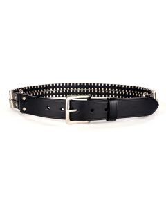 JOHN LAWRENCE SULLIVAN LEATHER PIN BUCKLE DOUBLE BELT / BLACK