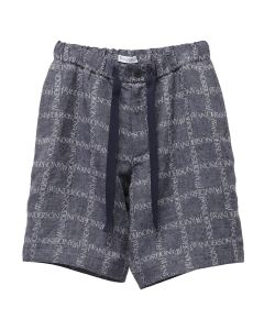 JW Anderson ELASTICATED WAISTBAND LOGO GRID SHORTS / 888 : NAVY