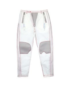 KANGHYUK CROPPED READYMADE AIRBAG SUNVISOR FLY PATCHED TROUSER / OFF WHITE-RED-RED STITCH