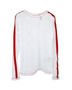 KANGHYUK MESH RED STRIPE LONG SLEEVE T-SHIRT / WHITE