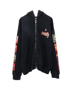 MARCELO BURLON TAROT ZIPPED HOODIE / BLACK MULTICOLOR