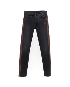 MARCELO BURLON LIGHT WASH SLIM FIT JEANS / BLACK RED