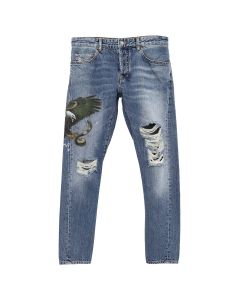 MARCELO BURLON VINTAGE WASH ANTIFIT JEANS / BLUE MULTICOLOR