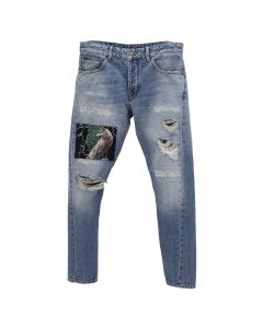 MARCELO BURLON RIP AND REPAIR ANTIFIT JEANS / BLUE MULTICOLOR