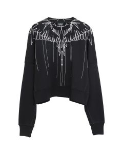 MARCELO BURLON STITCHING WINGS CREWNECK / 1001 : BLACK WHITE