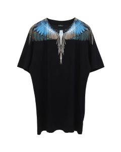 MARCELO BURLON TURQUOISE WINGS T-SHIRT / 1088 : BLACK MULTICOLOR