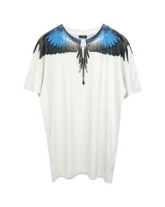 MARCELO BURLON TURQUOISE WINGS T-SHIRT / 4888 : BEIGE MULTICOLOR
