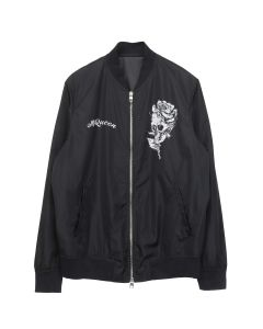 ALEXANDER McQUEEN PRINTED LIGHT BOMBER BIG BUG ROSE SKULL PRINTE / BLACK-WHITE