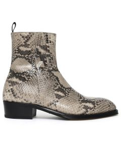 ALEXANDER McQUEEN HALF BOOT LEAT.S.LEA SNAKE/FAUN / APRICOT-BLACK