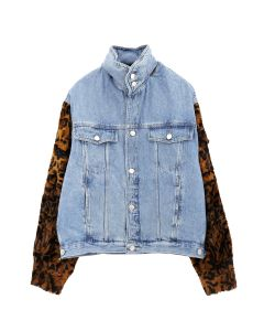 Martine Rose LEOPARD DENIM HOODIE / LIGHT DNM DARK LEO