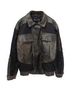Martine Rose MA-1 LEATHER BOMBER / BROWN-BLACK