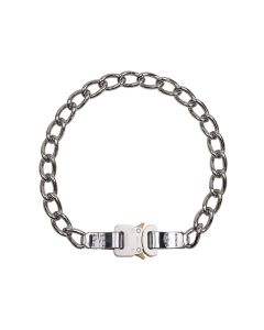 1017 ALYX 9SM CHAIN NECKLACE w/LEATHER DETAILS / GRY0002 : SILVER