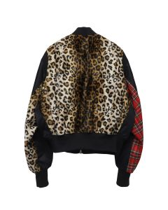 99%IS- LEOPARD&CHECK MA-1 / BLACK