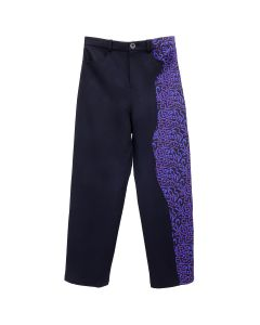Necessity Sense MICH PLEATS STRAIGHT DECONSTRUCTED TROUSER / MIDNIGHT NAVY+MIDNIGHT NAVY LOGO LEOPARD PATTERN