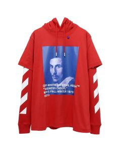 OFF-WHITE c/o Virgil Abloh MENS DIAG BERNINI L/S TEE W HOODIE / RED BLUE