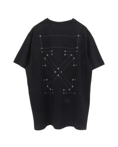 OFF-WHITE c/o Virgil Abloh MENS BACKBONE S/S OVER TEE / 1091 : BLACK SILVER