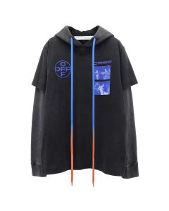 OFF-WHITE c/o Virgil Abloh MENS HARDCORE CARAVAGGIO DOUBLE TEE HOOD / 1030 : BLACK BLUE