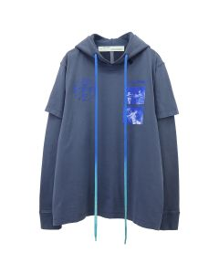 OFF-WHITE c/o Virgil Abloh MENS HARDCORE CARAVAGGIO DOUBLE TEE HOOD / 3830 : INDIGO BLUE