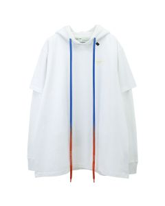 OFF-WHITE c/o Virgil Abloh MENS ACRYLIC ARROWS DOUBLE TEE HOOD / 0160 : WHITE YELLOW