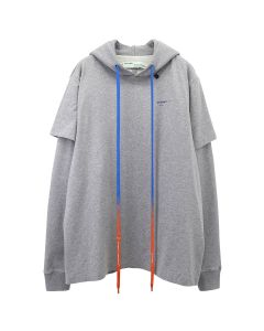 OFF-WHITE c/o Virgil Abloh MENS ACRYLIC ARROWS DOUBLE TEE HOOD / 0730 : MELANGE GREY