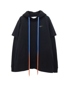 OFF-WHITE c/o Virgil Abloh MENS ACRYLIC ARROWS DOUBLE TEE HOOD / 1060 : BLACK YELLOW
