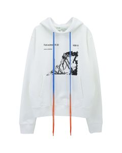 OFF-WHITE c/o Virgil Abloh MENS RUINED FACTORY SLIM HOODIE / 0110 : WHITE BLACK
