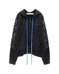 OFF-WHITE c/o Virgil Abloh MENS ABSTRACT ARR DOUBLE ZIP HOODIE / 1001 : BLACK WHITE