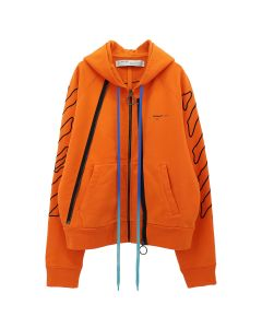 OFF-WHITE c/o Virgil Abloh MENS ABSTRACT ARR DOUBLE ZIP HOODIE / 1910 : ORANGE BLACK