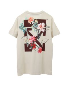 OFF-WHITE c/o Virgil Abloh WOMENS FLOWERS CARRYOVER CASUAL TEE / 0124 : WHITE BORDEAUX