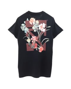 OFF-WHITE c/o Virgil Abloh WOMENS FLOWERS CARRYOVER CASUAL TEE / 1024 : BLACK BORDEAUX