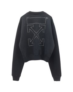 OFF-WHITE c/o Virgil Abloh WOMENS SHIFTED CARRYOVER CROP CRNECK / 1010 : BLACK BLACK