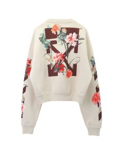 OFF-WHITE c/o Virgil Abloh WOMENS FLOWERS CARRYOVER CROP CRNECK / 0124 : WHITE BORDEAUX